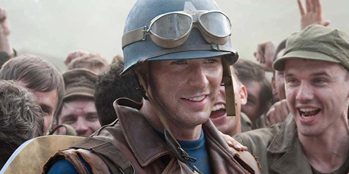 Chris Evans as Steve Rogers in Captain America: First Avenger