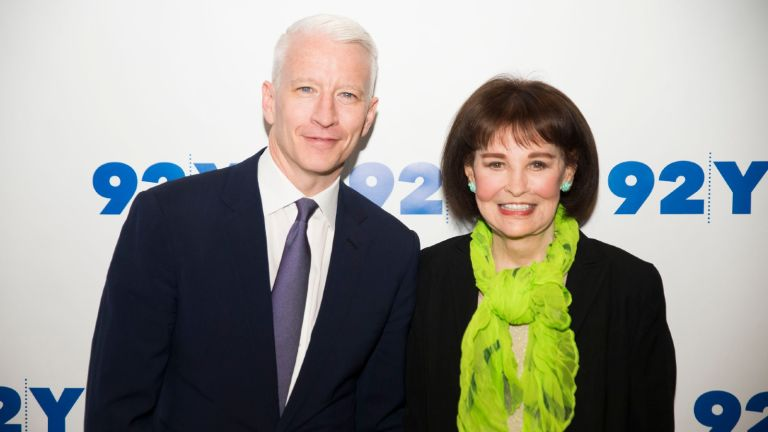 Anderson Cooper and Gloria Vanderbilt attend A Conversation With Anderson Cooper And Gloria Vanderbilt at 92Y on April 14, 2016 in New York City.