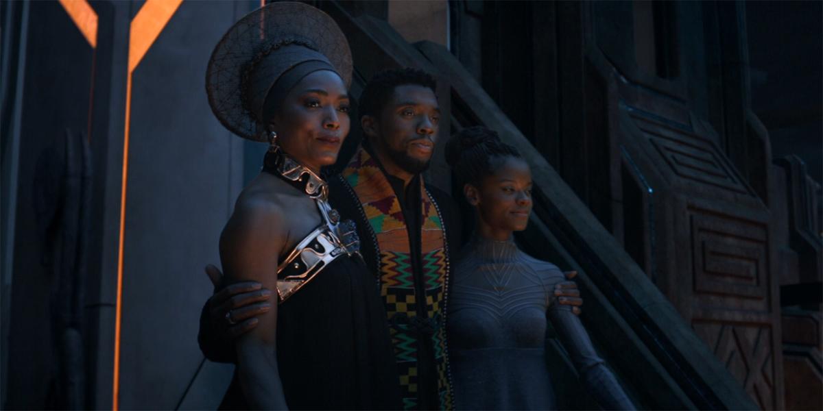 Angela Bassett Chadwick Boseman and Letitia Wright at the end of Avengers Endgame