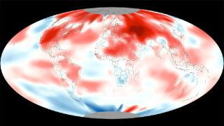 Shades of red signifies warmer than average temperatures,deviating by up to 11 degrees Fahrenheit; while shades of blue signify cooler-than average temperatures of down to 11 degrees below average for April 2012.