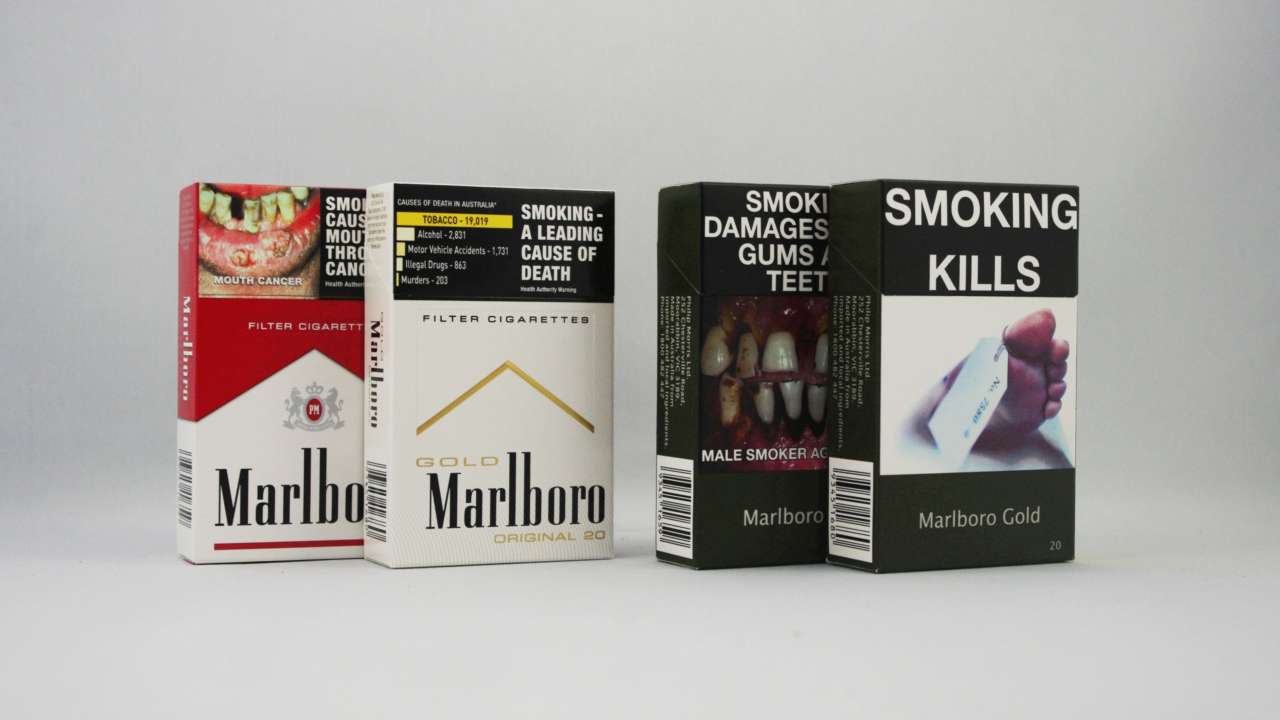 Australian cigarette packets in 2012 and 2014