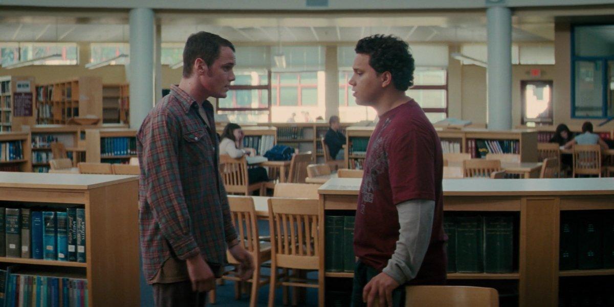 Anton Yelchin and Michael Rivera in The Beaver