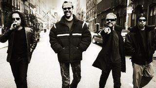 Metallica group shot walking down a street in 2003