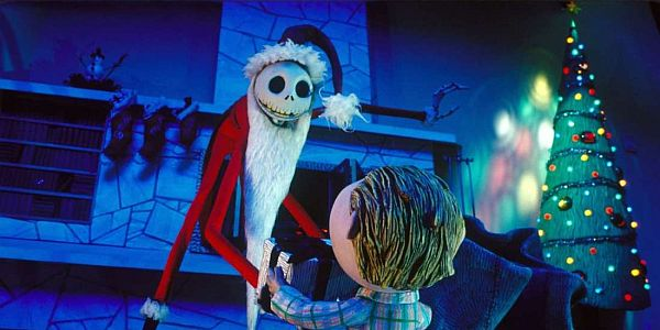 Jack Skellington as Sandy Claws handing over a present to a child in the Nightmare Before Christmas