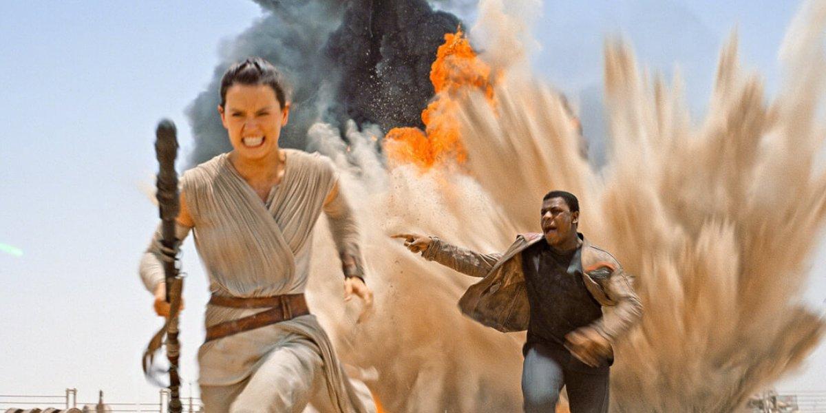 Daisy Ridley and John Boyega in Star Wars: The Force Awakens