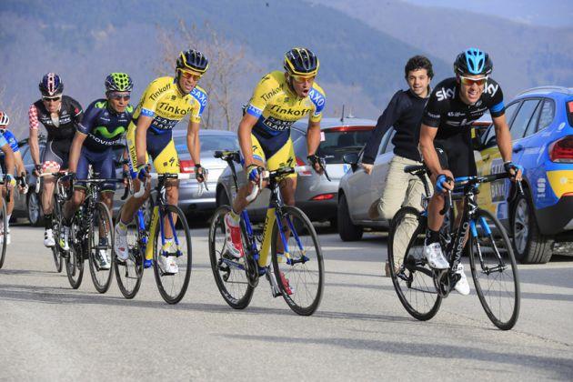 Richie Porte, Roman Kreuziger, Alberto Contador, Nairo Quintana and Robert Kiserlovski battle in the final km of Stage 4 of the 2014 Tirreno-Adriatico