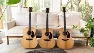 All three models in Orangewood's new Topanga line of acoustic guitars