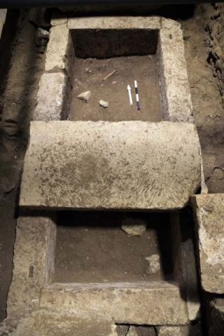 The burial vault inside a tomb at Amphipolis.
