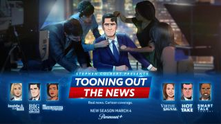 "Promo picture for ""Stephen Colbert's Tooning Out The News"" on Paramount Plus."