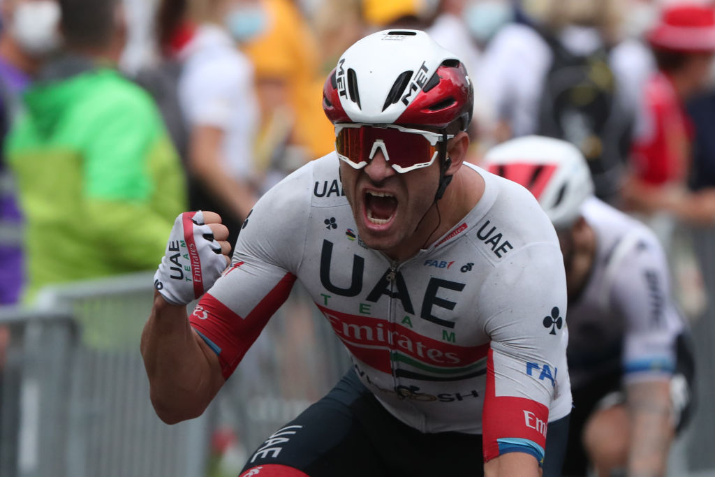 Team UAE Emirates rider Norways Alexander Kristoff celebrates as he crosses the finish line of the 1st stage of the 107th edition of the Tour de France cycling race 156 km between Nice and Nice on August 29 2020 Photo by Thibault Camus POOL AFP Photo by THIBAULT CAMUSPOOLAFP via Getty Images
