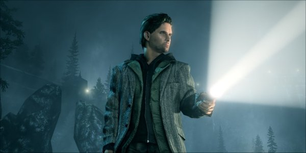 Alan Wake with flashlight
