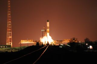 Launch photo of Russia's Progress 41 spacecraft