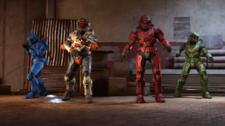 A lineup of Halo super-soldiers