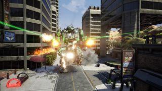 A mech blasts its way through a city street