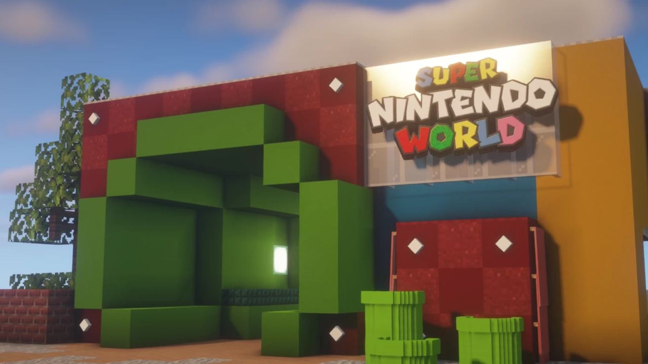 The Super Nintendo World theme park is under construction in Minecraft