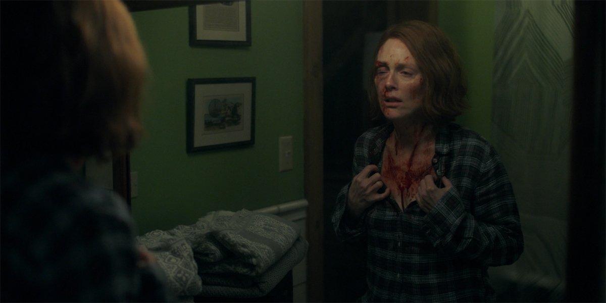 Julianne Moore as Lisey examines cuts in mirror in Lisey's Story