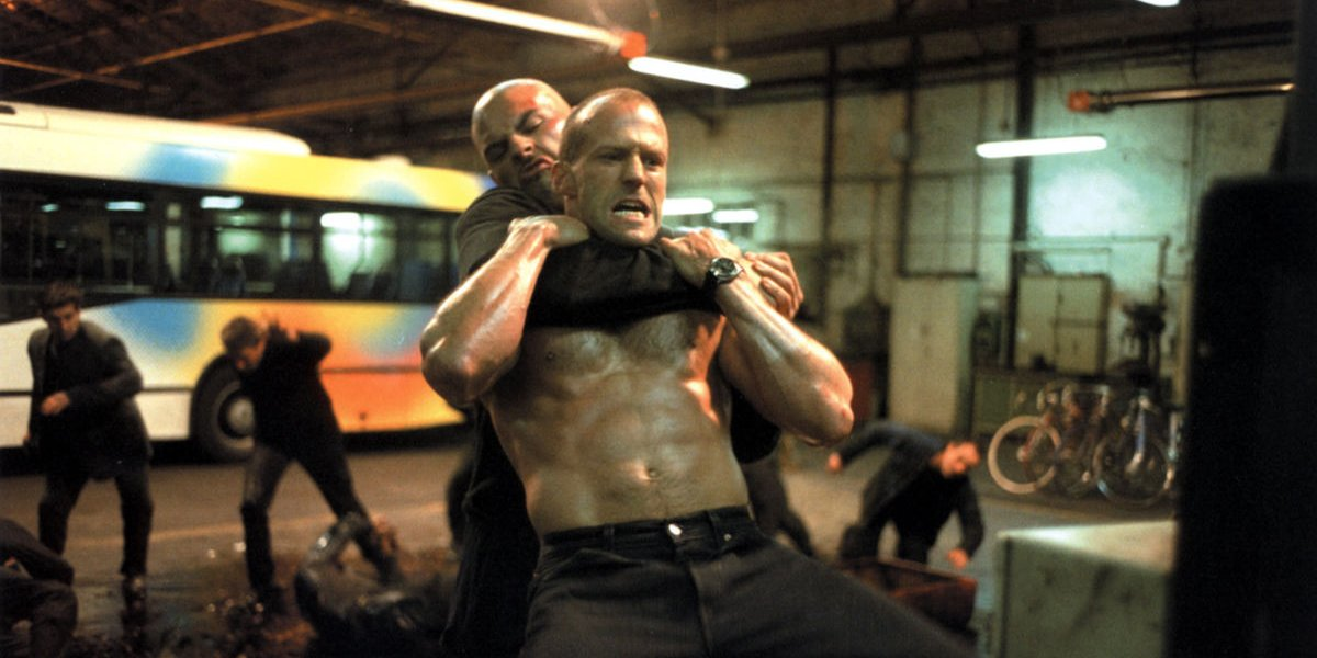 Frank Martin (Jason Statham) fighting in a bus station in The Transporter