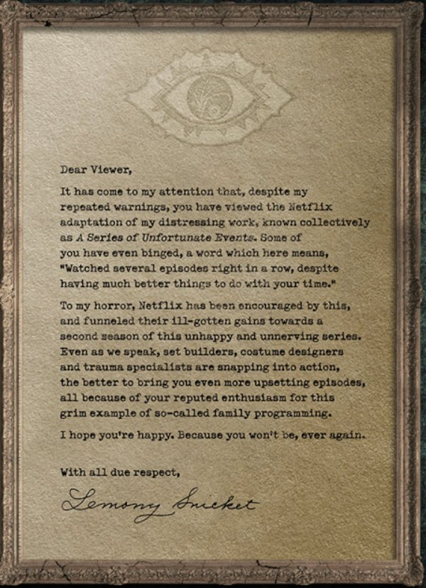 A Series Of Unfortunate Events Season 2 Note From lemony Snicket