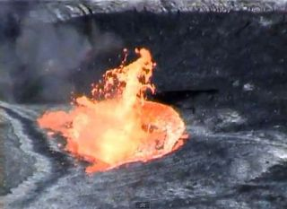 Fountaining activity on the surface of a lava lake.