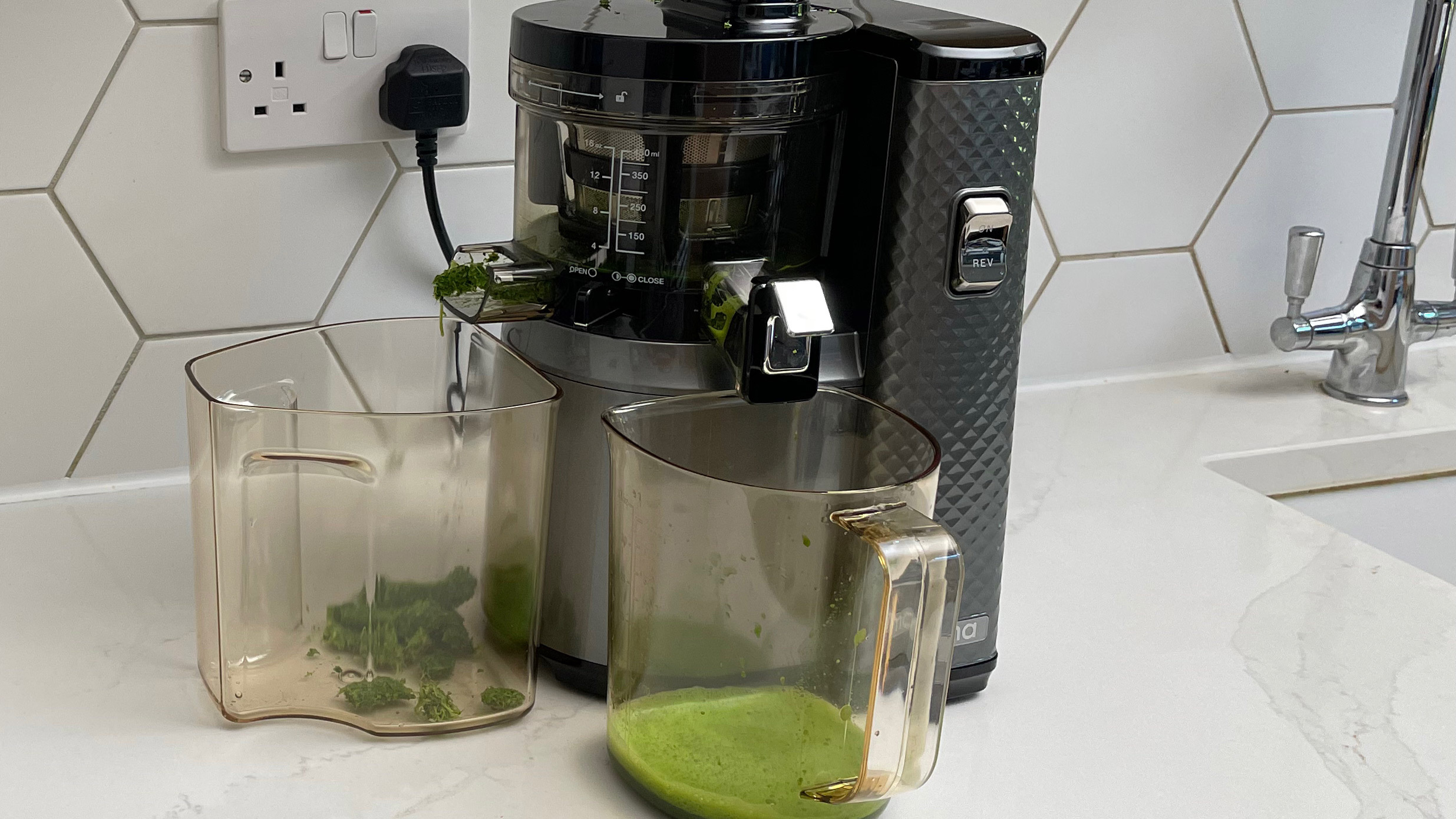 Nama Vitality 5800 on a kitchen countertop in use juicing kale