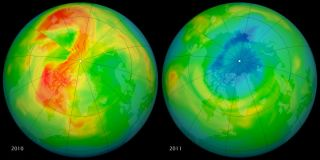 maps of ozone concentration