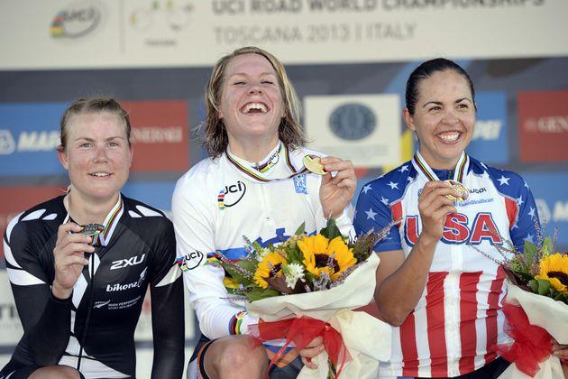 Villumsen, van Dijk and Small, Women's time trial, Road World Championships 2013
