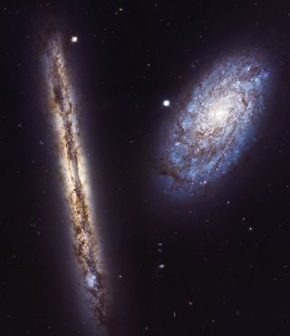 Spiral-galaxy pair NGC 4302 and NGC 4298
