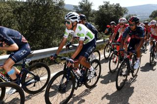 Egan Bernal (Ineos Grenadiers) in the best young rider's jersey after stage 14 of the Vuelta a Espana