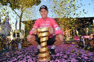 Chris Froome (Team Sky) is heralded as the winner of the 2018 Giro d'Italia
