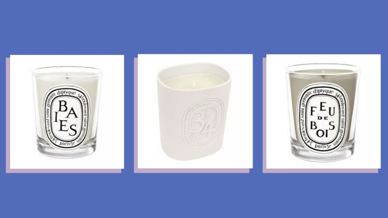 A collage image showing three of the best Diptyque candles