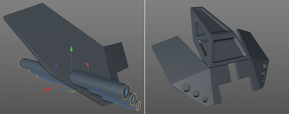 headlamp holes for vehicle in Cinema 4D