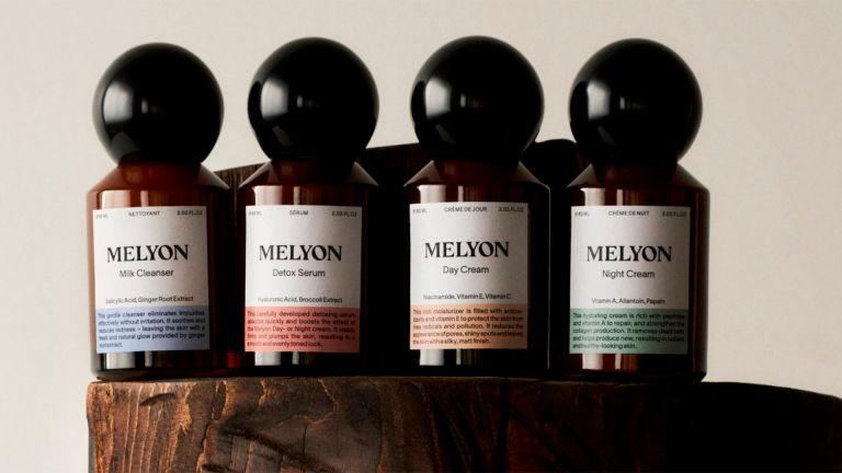 Melyon skincare bottles