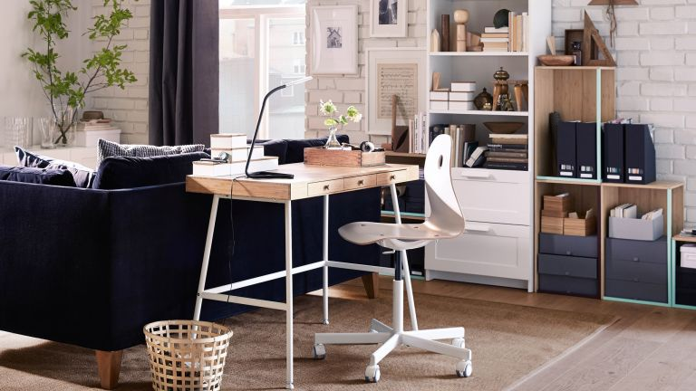 Treviso desk from Ercol in a bedroom