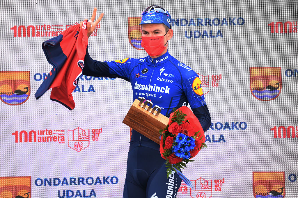 ONDARROA SPAIN APRIL 09 Podium Mikkel Honore of Denmark and Team Deceuninck QuickStep Celebration during the 60th ItzuliaVuelta Ciclista Pais Vasco 2021 Stage 5 a 1602km stage from Hondarribia to Ondarroa itzulia ehitzulia on April 09 2021 in Ondarroa Spain Photo by David RamosGetty Images