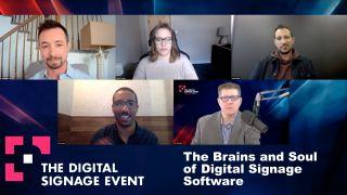 """Panelists speak on the Digital Signage Event panel """"The Brains and Soul of Digital Signage Software"""""""