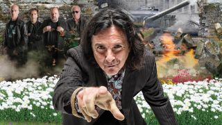 Marillion photo composite in a field against a war zone
