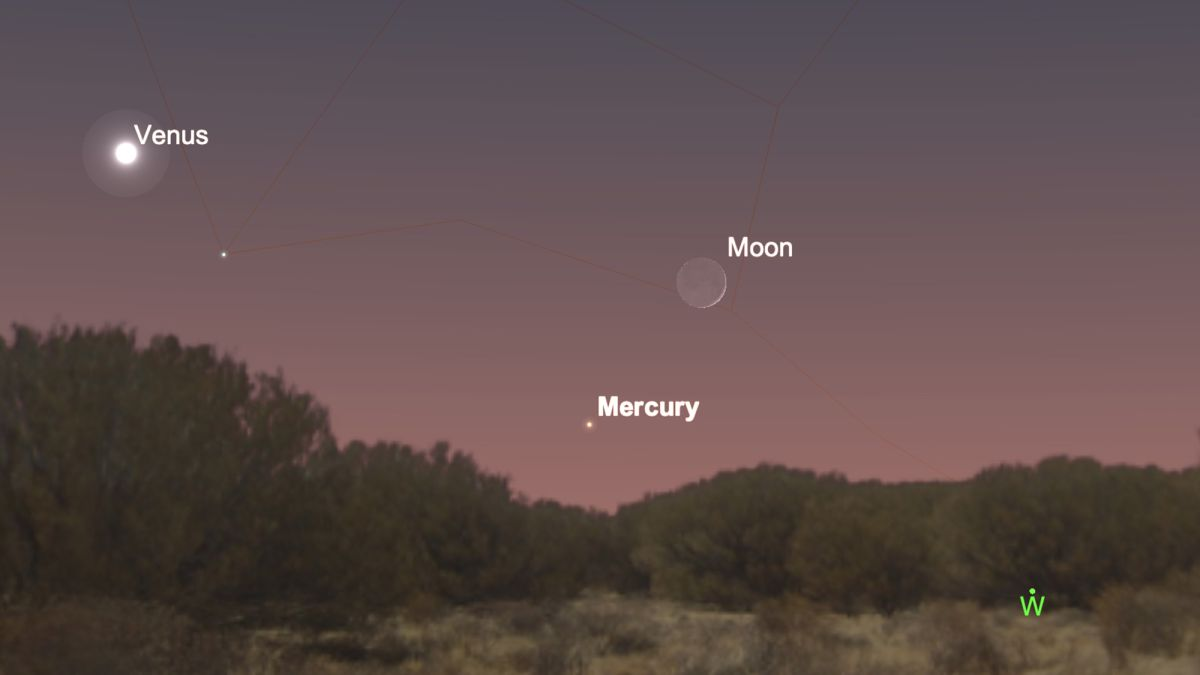 Mercury snuggles up to the crescent moon tonight
