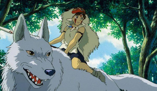 Princess Mononoke the Princess rides her wolf mother through the woods
