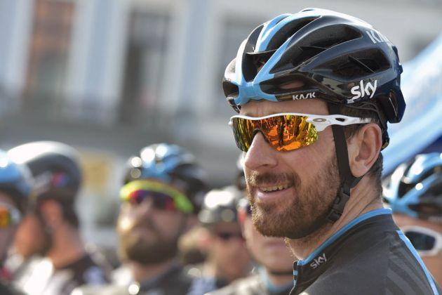 Bradley Wiggins looking relaxed before the start of the 2015 Scheldeprijs