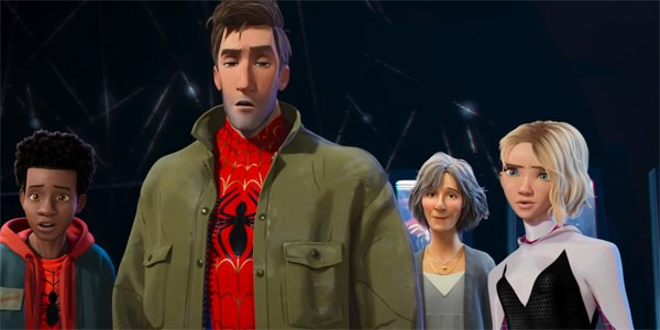 Spider-Man: Into The Spider-Verse Miles Morales Peter Parker Aunt May and Gwen Stacy meet Spider-Ham