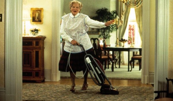 Mrs. Doubtfire Robin Williams dancing with a vacuum in full prosthetics