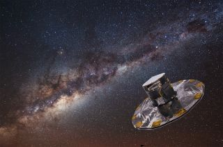 Artist's concept of the European Space Agency's Gaia spacecraft mapping stars in the Milky Way galaxy. Gaia may discover 70,000 exoplanets if its mission continues for 10 years, researchers have found.