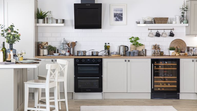 modern neutral shaker kitchen with Russell Hobbs appliances