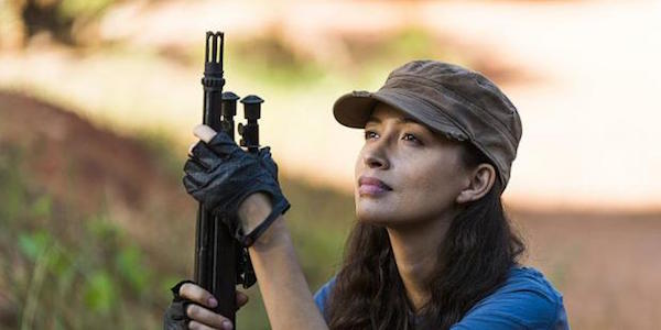 Rosita with a rifle in Season 7