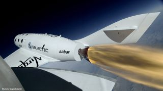 Close-Up of SpaceShipTwo During First Rocket-Powered Flight