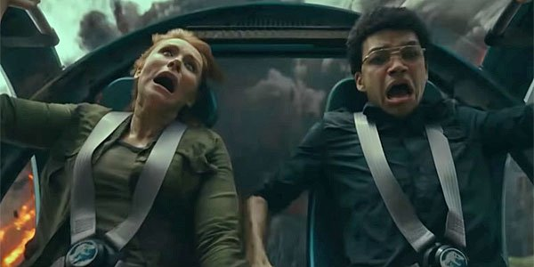 Jurassic world fallen kingdom stunt with Justice Smith and Bryce Dallas Howard