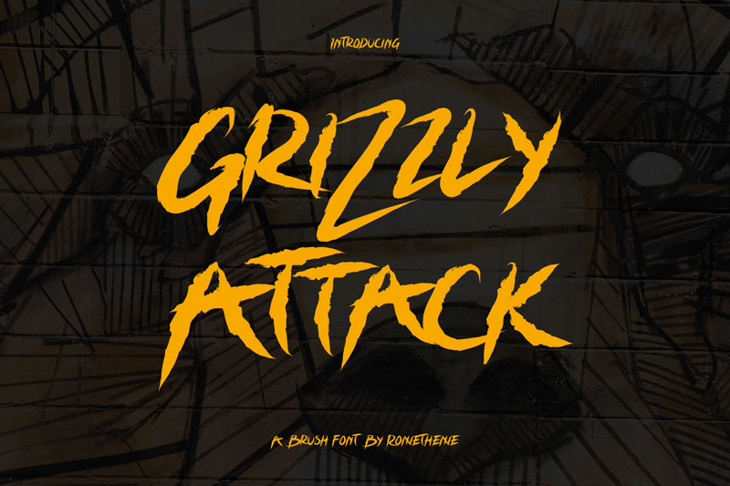 Free graffiti fonts: Grizzly Attack