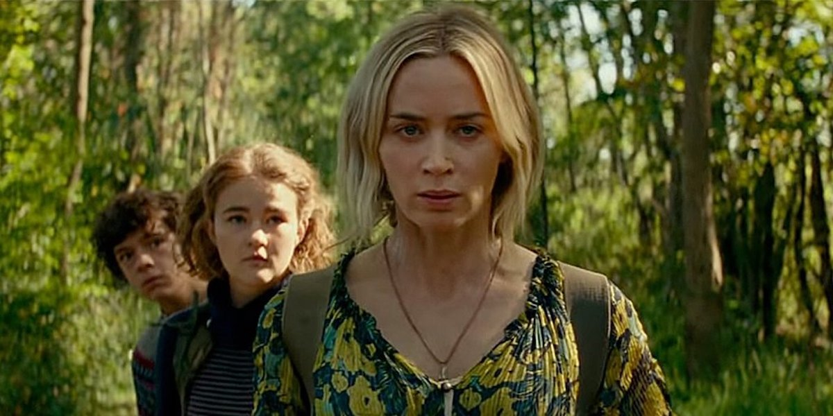 Emily Blunt, Noah Jupe and Millicent Simmonds as the Abbotts in A Quiet Place Part II