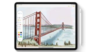 iPad displaying iPadOS with Apple Pencil