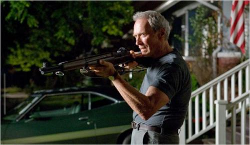 Gran Torino - Clint Eastwood's Walt Kowalski picks up his gun